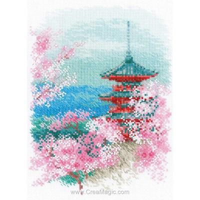 Point de croix de RIOLIS à broder sakura pagode
