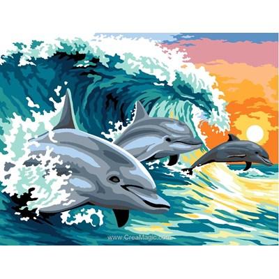 Canevas SEG dauphin surfant sur la vague