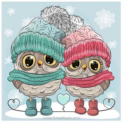 Kit broderie diamant duo de chouettes en hiver - Wizardi
