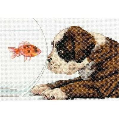 Kit à broder de Dimensions au point de croix le boxer et le poisson rouge