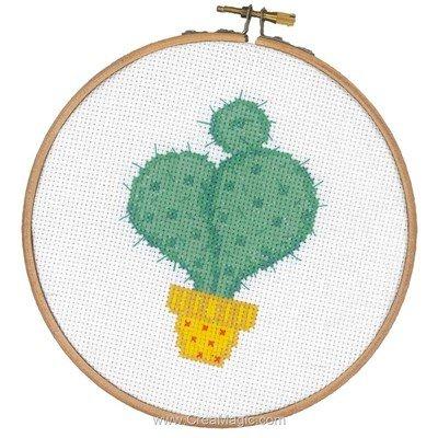 Modèle Vervaco au point de croix mini cactus avec cercle