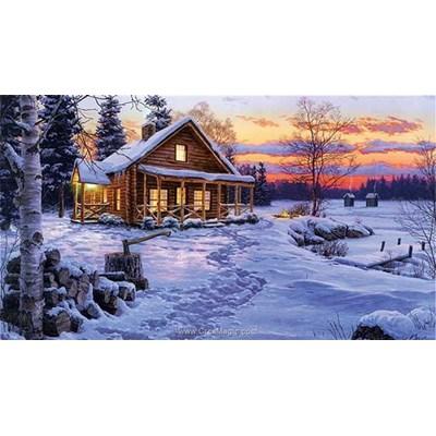 Broderie diamant crépuscule d'hiver - Diamond Painting