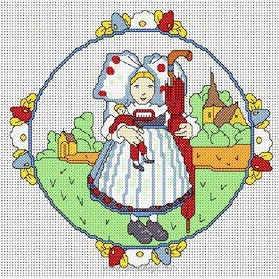 Broderie en point compté Anagram printemps en alsace sur lin