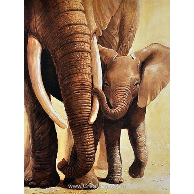 Kit broderie diamant elephant of the mother - Diamond Painting