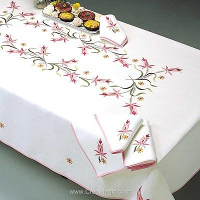 Serviette de table imprimée charlotte rose en broderie traditionnelle de Margot Broderie