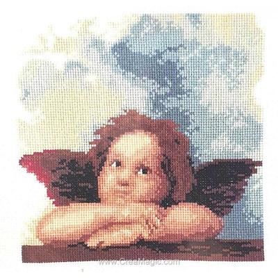 Kit tableau Vervaco point de croix ange rêveur