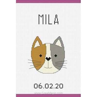 Kit protège carnet de santé pour bébé petit chat rigolo à broder - Princesse