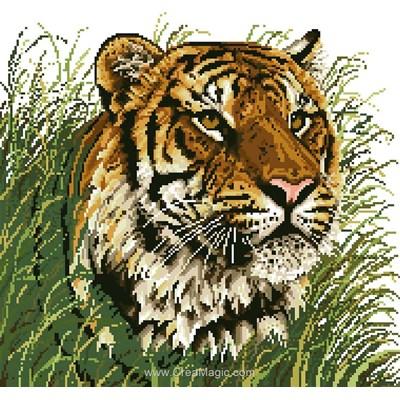 Kit broderie diamant tigre dans l'herbe - Diamond Painting