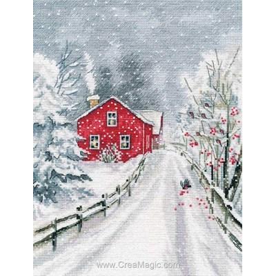 Kit à broder Oven maison rouge en hiver