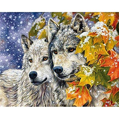Kit broderie diamant wolves near the tree de Diamond Painting