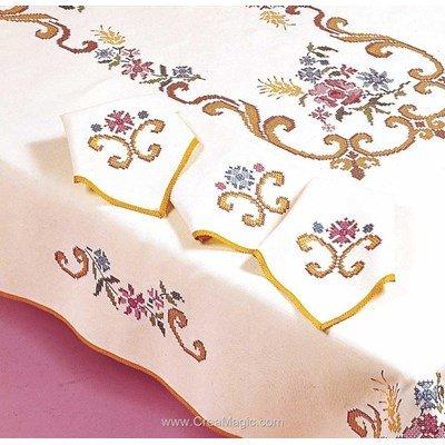 Serviette de table pénélope doré au point de croix imprimé - Margot Broderie