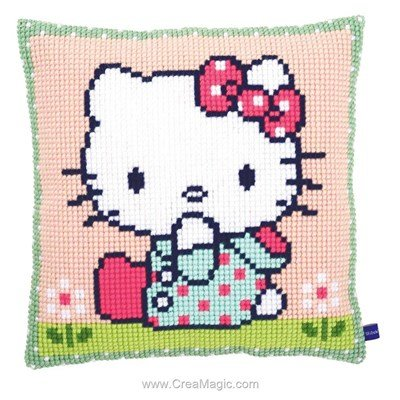 Kit coussin au point de croix hello kitty en campagne de Vervaco