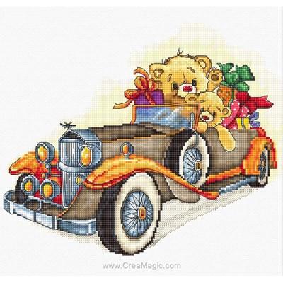 Kit broderie de Luca-S au point de croix une voiture pleine de cadeaux