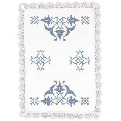 Napperon mosaïque azul à broder au point de croix imprimé - Margot Broderie