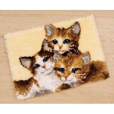 Kit tapis point noué Vervaco 3 chatons