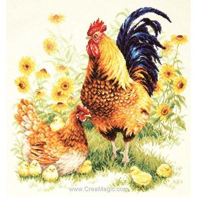 Broderie au point de croix compté la famille de coq et poule - Magic Needle