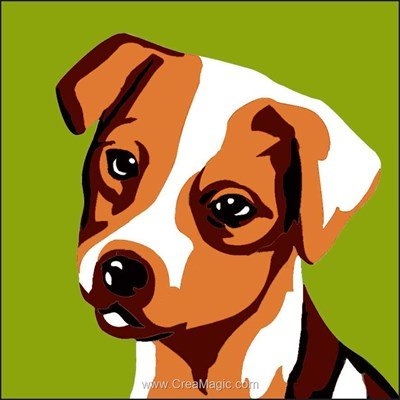 Kit canevas enfant portrait de chien de Luc Création