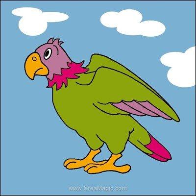 Luc Création kit canevas pour débutant perroquet en vol