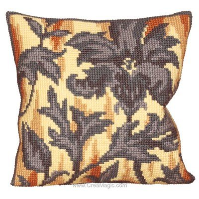Coussin silhouette de fleur de Collection d'art au point de croix