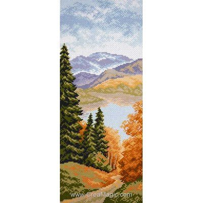 Point de croix imprimé aida Collection d'art lac de montagne noha
