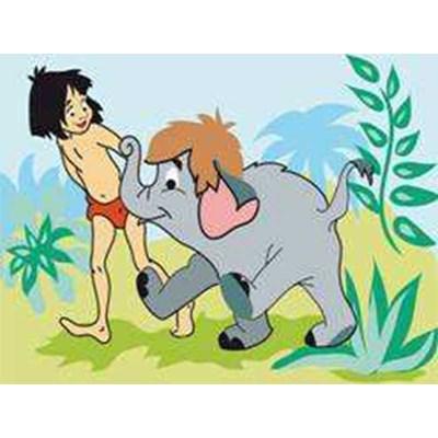 DMC canevas discussion de mowgli et junior - disney