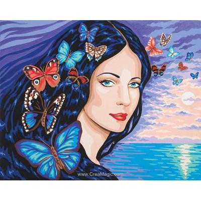 Canevas femme aux papillons de Collection d'art