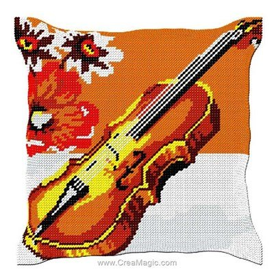 Coussin au demi point fleurs et violon de Luc Création