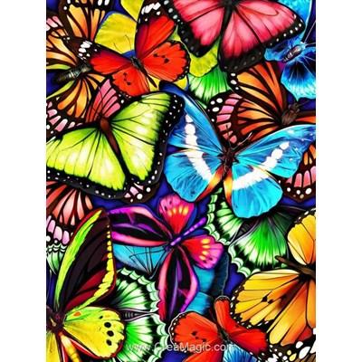 Kit broderie diamant Diamond Painting multitude de papillons colorés
