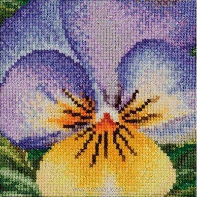 Pensée jaune violette sur aida modèle point de croix - Thea Gouverneur