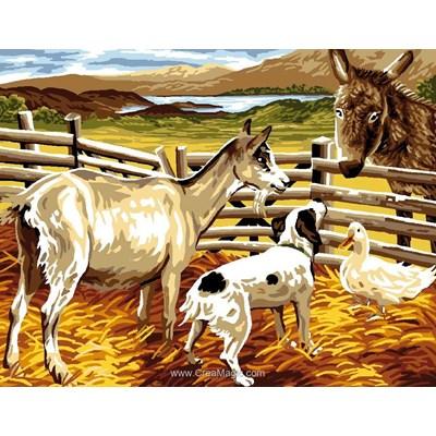 Canevas animaux de ferme à la barrière - Luc Création