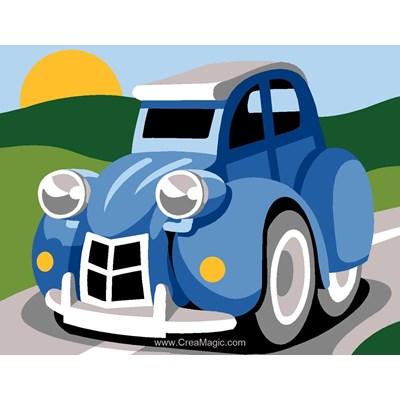 Kit canevas enfant Margot voiture 2cv bleu