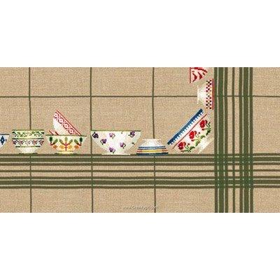 Kit nappe bols à carreaux vert 180x180 à broder au point de croix compté de Le Bonheur Des Dames
