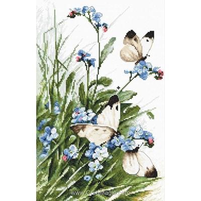 Kit tableau point de croix butterflies and bluebird flowers de LETISTITCH