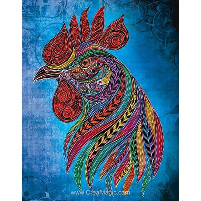 Kit broderie diamant Diamond Painting rooster - fire force