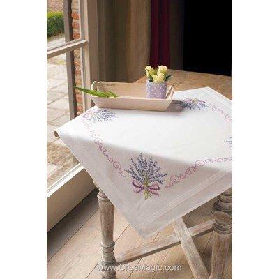 Nappe en kit bouquet lavande au point de croix imprimé - Vervaco