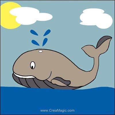 Kit canevas Luc Création pour enfant baleine sur les flots