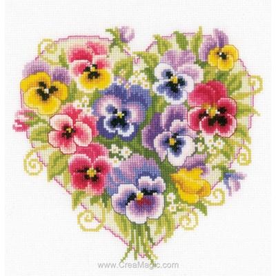 Kit point de croix coeur de pensées multicolores - Vervaco