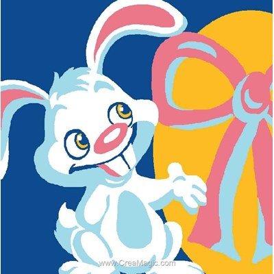 Kit canevas pour enfants le lapin et oeuf de pâques - Luc Création
