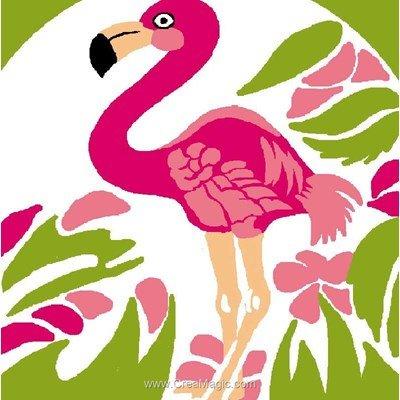 Flamand rose et fleurs kit canevas pour débutant - Luc Création