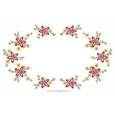 Kit napperon à broder Luc Création en points de broderie au coeur des fleurs