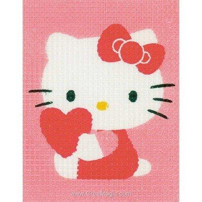Kitty et le coeur canevas enfant en kit - Vervaco