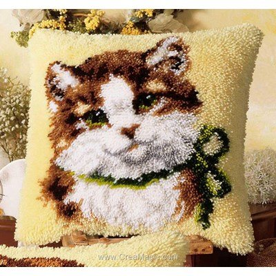 Coussin point noue le chat au noeud vert - Vervaco