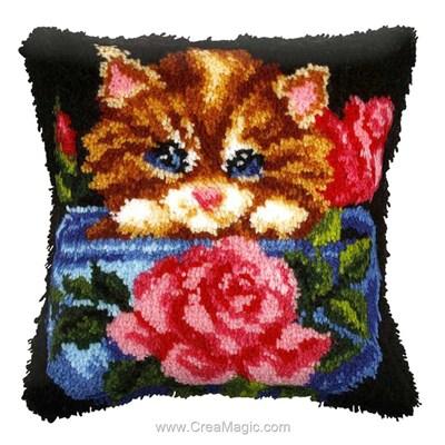 Kit coussin point noué chaton aux roses - Orchidea