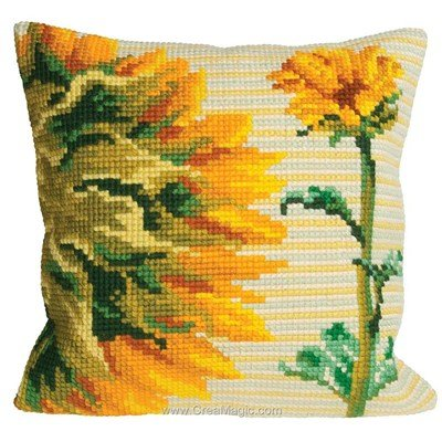 Coussin point de croix tounesol de l'aube de Collection d'art