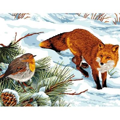 Canevas le renard et le rouge-gorge de Mimo Verde