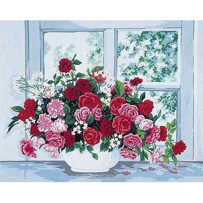 Roses devant une fenêtre canevas de Collection d'art