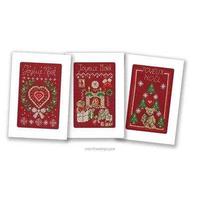 Kit carte à broder lot de 3 cartes joyeux noël Marie Coeur