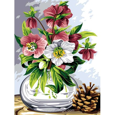 Vase aux fleurs tendres canevas - SEG