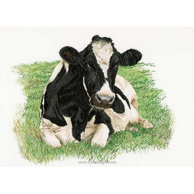 Broderie au point de croix compté vache au repos sur aida de Thea Gouverneur