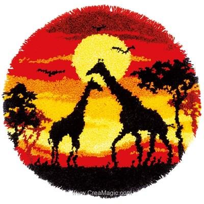 Tapis point noue girafes d'afrique au coucher du soleil - Vervaco